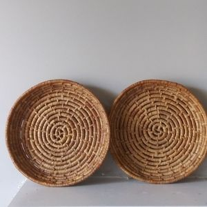 Woven trays set/2 wall decor boho farmhouse style